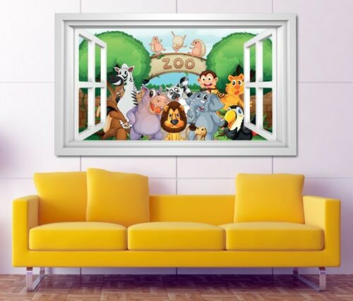 3D Wandtattoo Zoo Tiere Kinderzimmer Löwe Elefant Zebra Wand Aufkleber 11K873