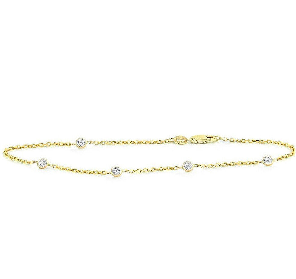 Handmade 14K Yellow gold Bracelet With .5 Carat Diamonds By The Yard 8 Inches