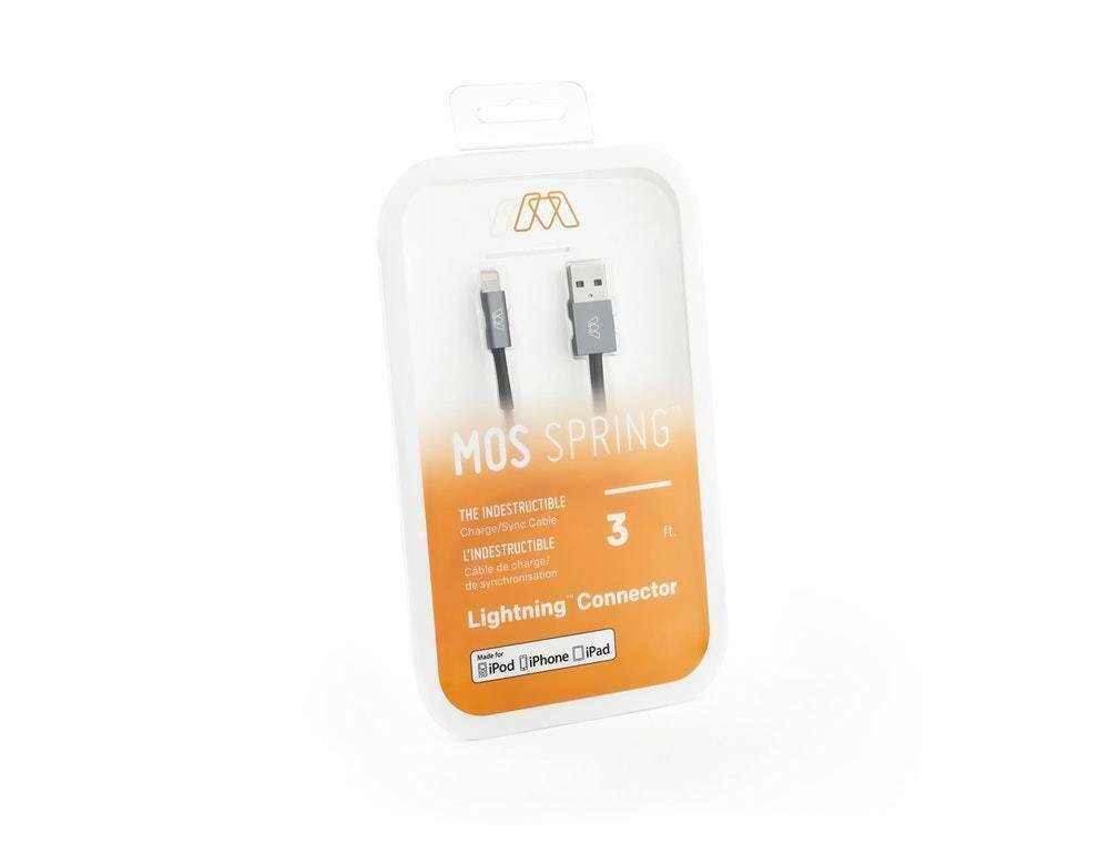 MOS Spring Lightning Cable Aluminum Heads 3ft SW-30550-3W White Spring Relief