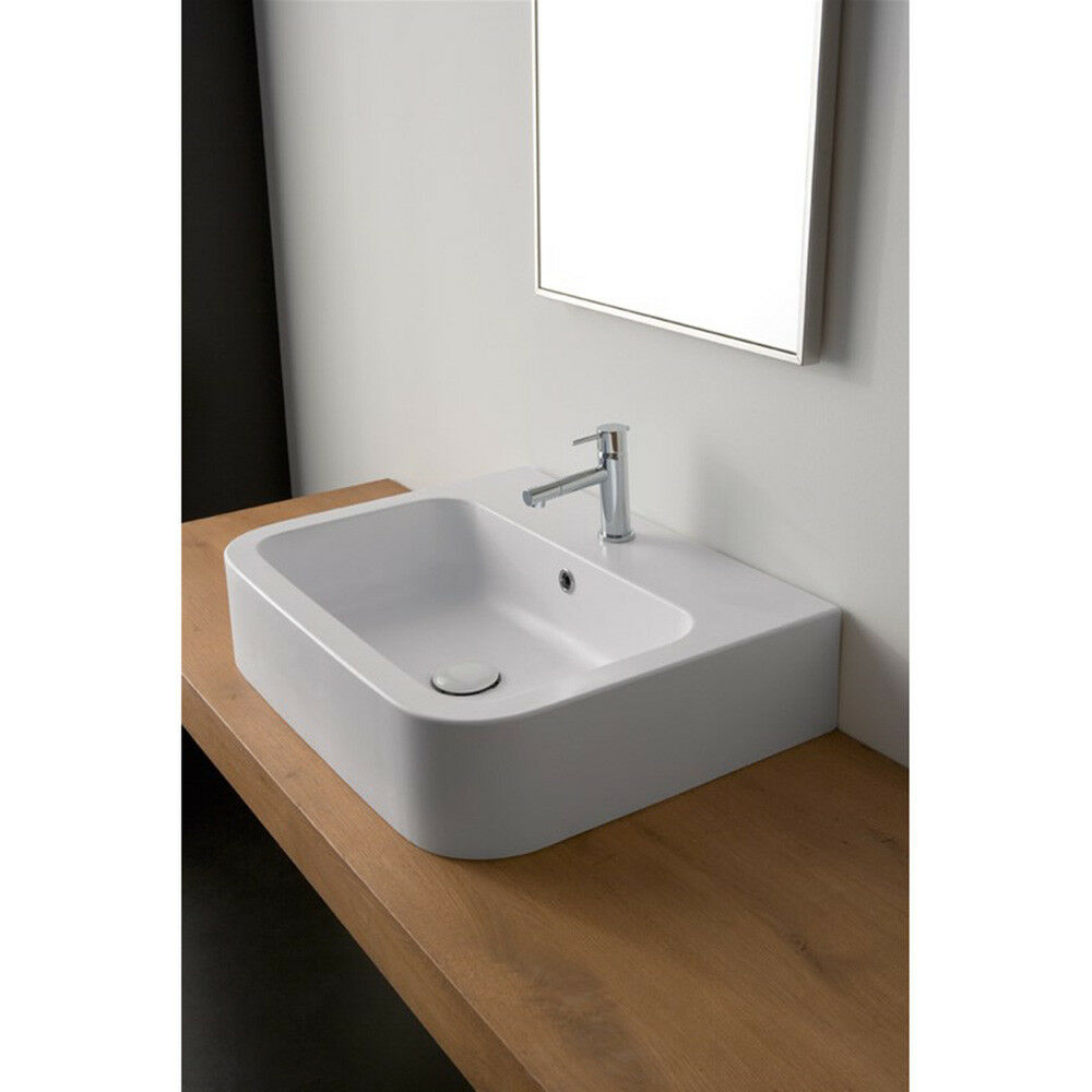 Lavandino Lavabo Design Next da Appoggio Sospeso in ceramica blanc - 2 Misure
