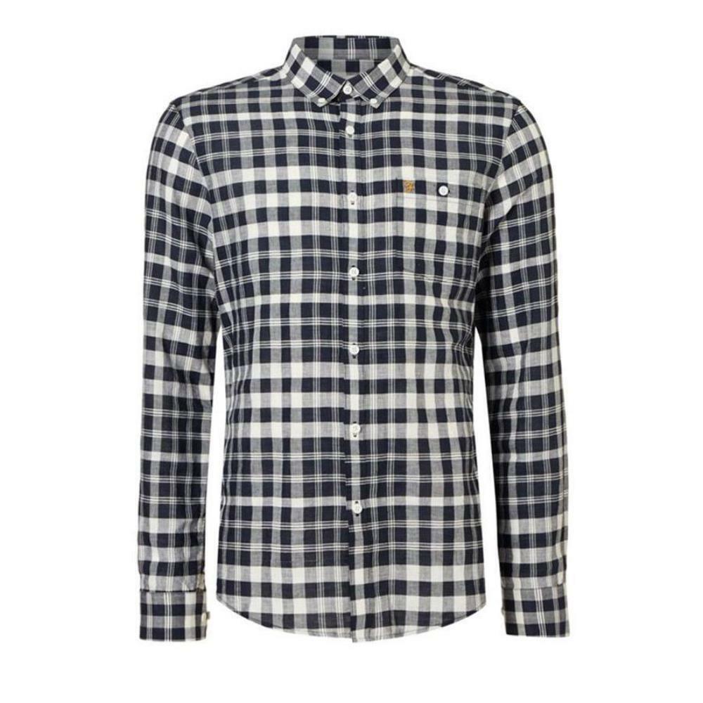 Farah Anderton a maniche lunghe Check camicia True Colore Navy Taglia XXL