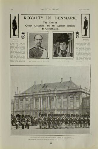 1903 PRINT QUEEN ALEXANDRA CROWN PRINCE OF DENMARK COPENHAGEN PARADE LIFE GUARDS