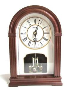 Details About Bulova B8894 Walnut Finish Westminster Chimes Mantel Clock Off White Dial