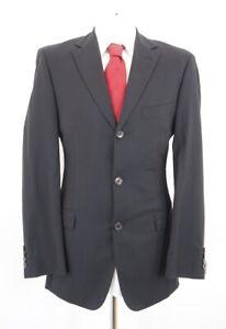HUGO BOSS Anzug Rosselini Super 140's Gr.48 schwarz uni Einreiher 3-Knopf -C39