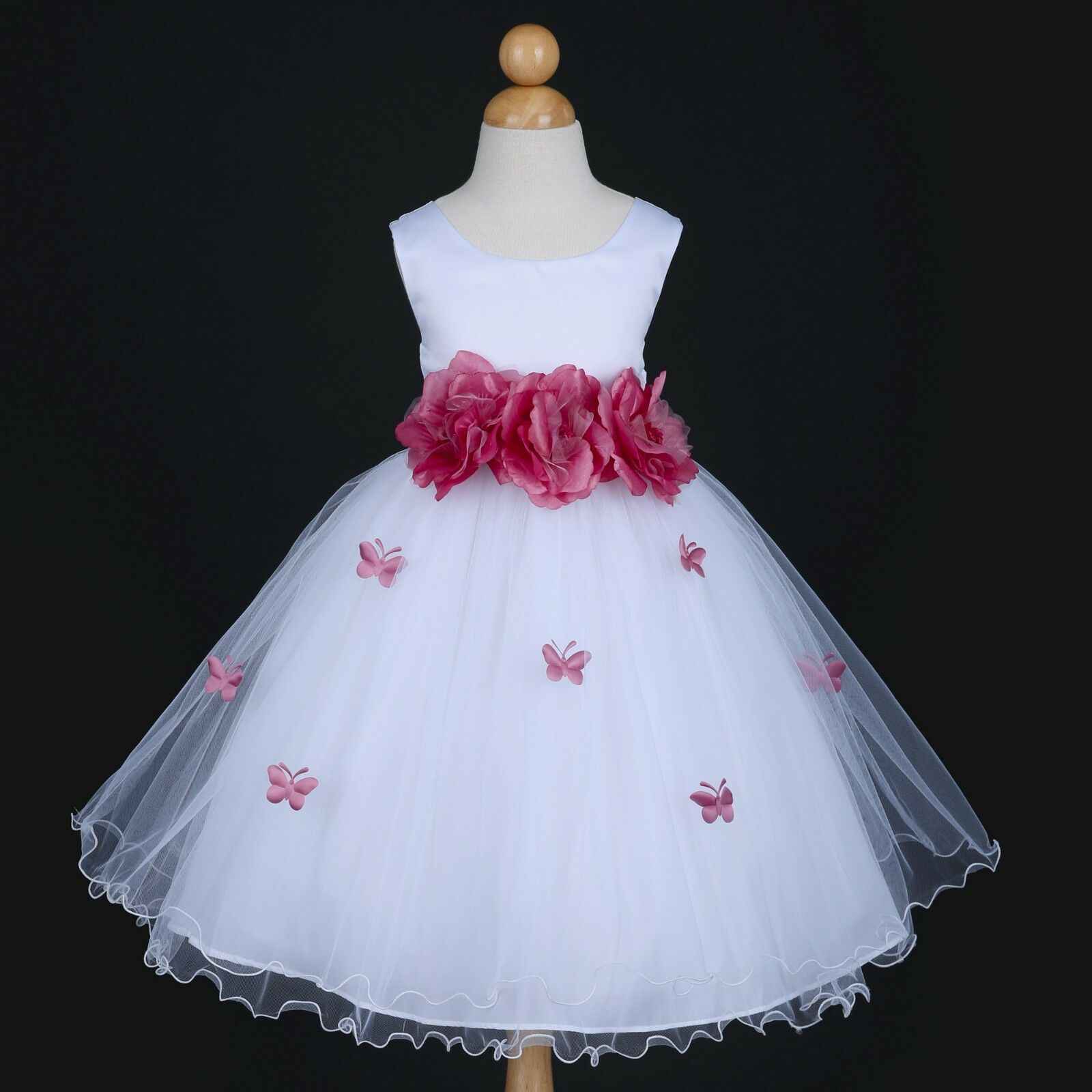 US Seller New White/Dusty Rose Wedding Party Butterfly Petals Flower Girl Dress