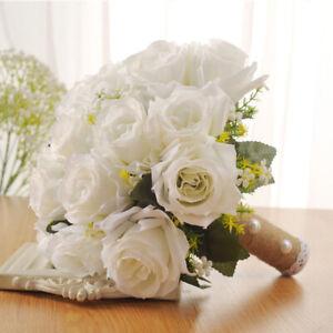Bouquet X Sposa.Dettagli Su Matrimonio Sposa Bouquet Da Sposa Decor Fiore Artificiale Floreale 28 X 26