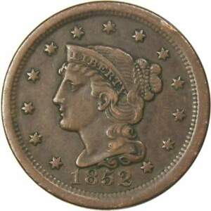 1852 Braided Hair Large Cent XF EF Extremely Fine Copper Penny 1c US Type Coin