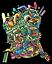 abstract outsider street art style pop art AEQEA Boogerman Sticker