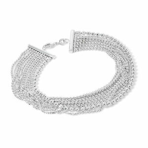 925-Real-Sterling-Silver-Box-amp-Bead-Chain-Multi-Strand-Cuff-Bracelet-Bracelets