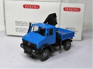 Wiking-1-87-Mercedes-Benz-Unimog-1850-con-ladekran-OVP-647-02-luz-azul