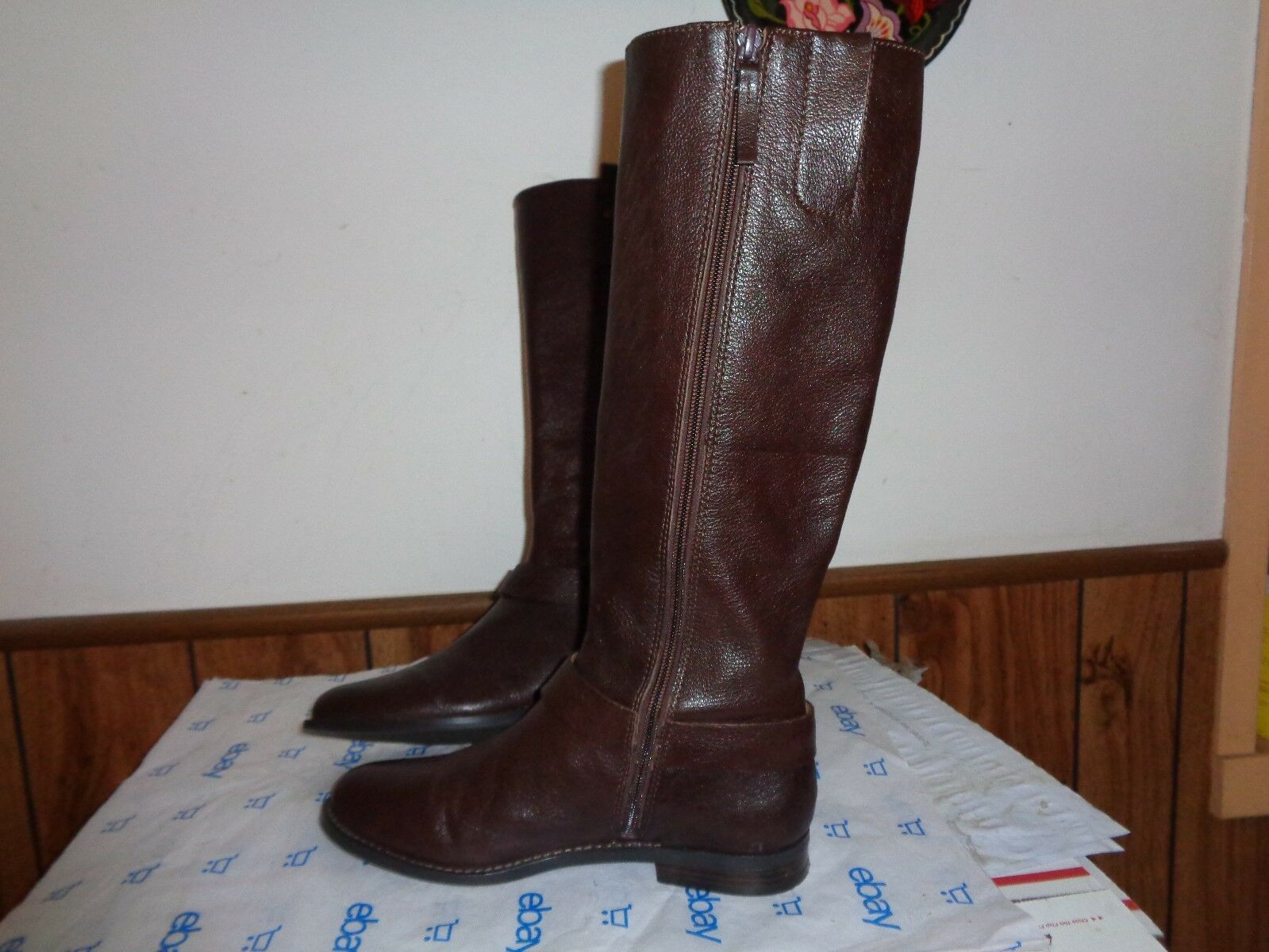 Nine West Avonna Avonna Avonna Women US 8M Brown Leather Knee High Boots Equestrian Harness 999e8e