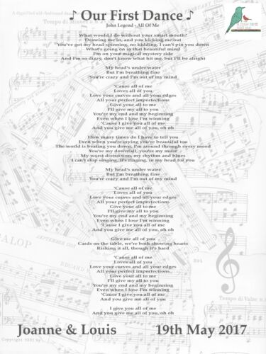 first dance Personalised song lyrics print wedding any song anniversary