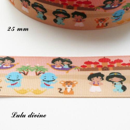 Ruban gros grain fond désert Motif enfantin Aladin Jasmine de 25 mm vendu au m