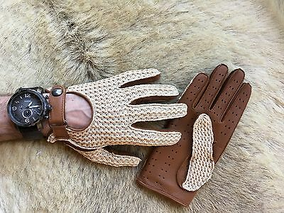 Blue Men/'s Deerskin Leather Gloves Crochet Top Leather Palm