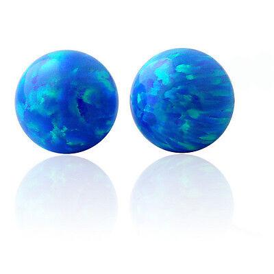 Unique 14K Gold Round Multi Color Fiery Opal Ball Screw Back Stud Earrings