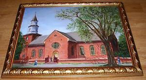 AMERICANA VINTAGE BRUTON PARISH CHURCH WILLIAMSBURG VIRGINIA VA OIL ART PAINTING
