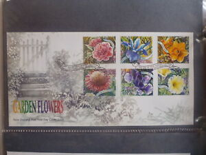 NEW-ZEALAND-2001-GARDEN-FLOWERS-SET-6-STAMPS-FDC-FIRST-DAY-COVER
