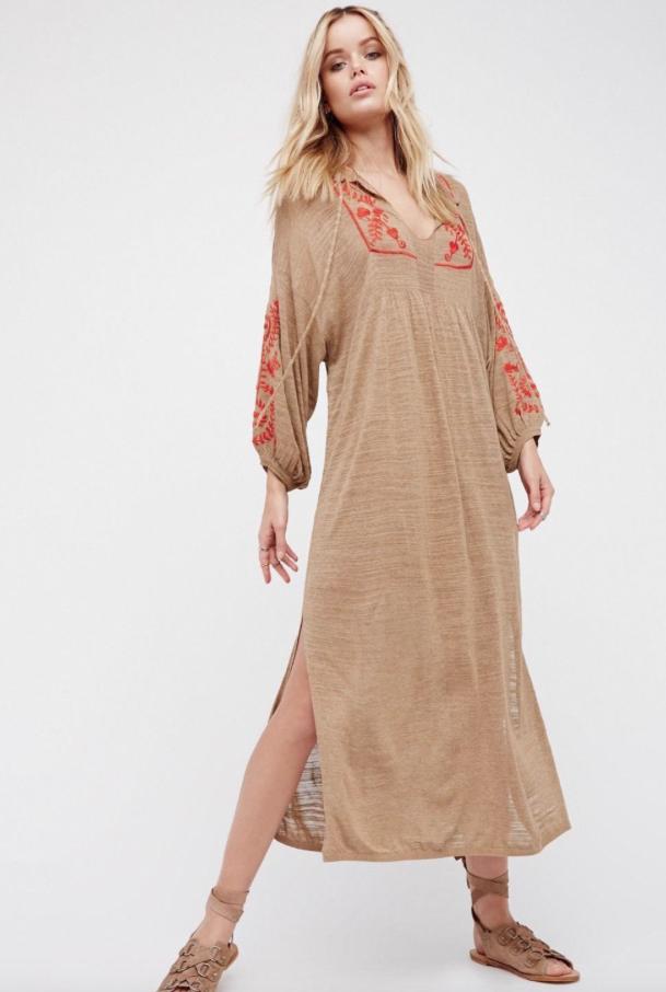 NEW Free People Tan & rot Trim Knit Bohemian Embroiderot Tunic Midi Dress Sz S