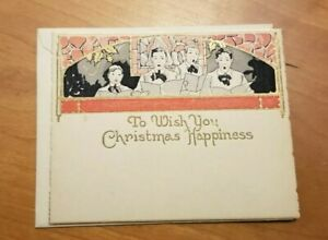 Vintage-Antique-ARTISTIC-Christmas-Card-UnUsed-Gold-letters