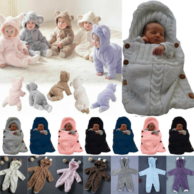 Newborn Infant Baby Boys Girls 0-24 Months Fluffy Romper Jumpsuit Hat Christmas Outfits Set