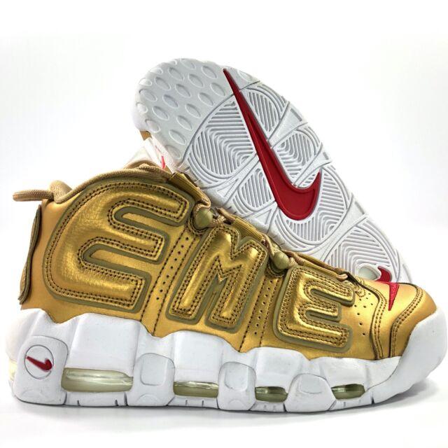 precisamente vecino Biblia  Size 6.5 - Nike Air More Uptempo x Supreme Metallic Gold 2017 for sale  online | eBay