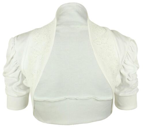 Womens Cotton Ruched Beaded Sequins Bolero Shrug Cardigan Ladies Cropped Jumper