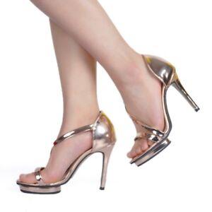 Zapatos mujer de punta abierta altos con y aguja con tacones para cordones tacón con Club metálicos sexy de sandalias zzwOd7qxr