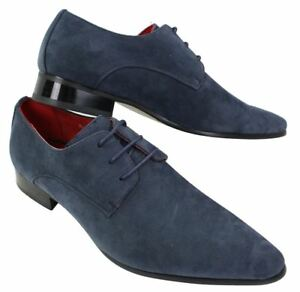 Mens Laced Pointed Suede Leather Blue