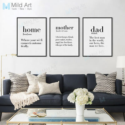 Mother Life Coffee Love Quotes Poster Nordic Home Decor Wall Art Canvas Painting Ebay
