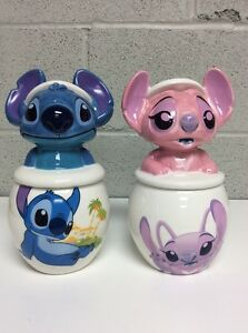 Disney Cookie Jars >> Details About Disney Cookie Jar Stitch Angel Sugar And Cream Large Ceramic Rare New