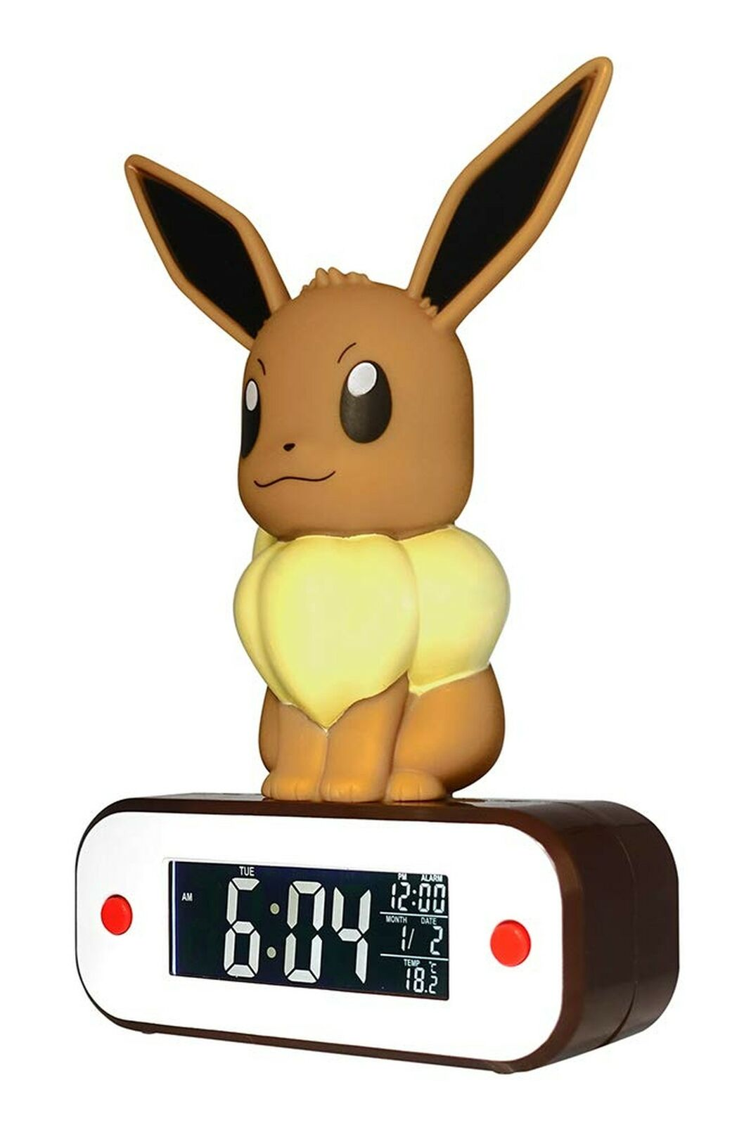 TEKNOFUN 811370 Pokemon Evee Alarm and Lamp braun