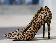 LC Lauren Conrad Jace Fabric Leopard Stiletto Pointy Dressy High Heel Pumps 6.5
