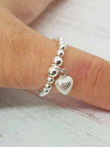 Birthday Sterling Silver Beaded Heart Stretch Ring Bridesmaid