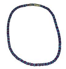 "Tiger Smile 16"" Round Necklace Blue Purple"