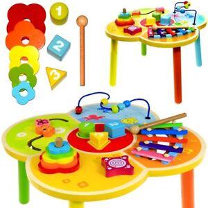 Baby Spielzeug Kinder Spieltisch Lerntisch aus Holz Motorikspielzeug mit 5 Lernspielzeugen Baby