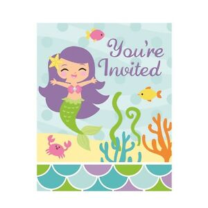 Image Is Loading 8 Mermaid Friends Invitations Invite Under The Sea