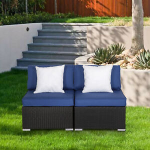 2-PCs-Patio-Rattan-Sofa-Furniture-Wicker-Armless-Combinable-Dark-Blue