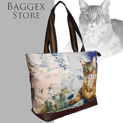 Furbabies Bengal cat Original portrait drawing printed Canvas Large Shoulder Bag