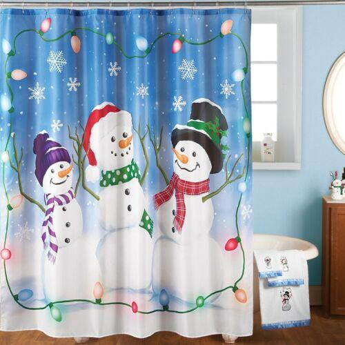 Christmas Frosty The Snowman Trio Polyester Fabric Bathroom Shower Curtain