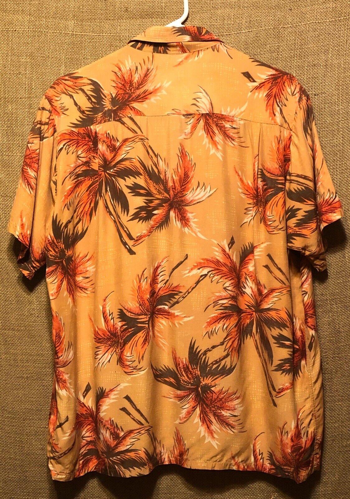 Vintage 1960's Aloha Light Orange Palm Trees Rayo… - image 2