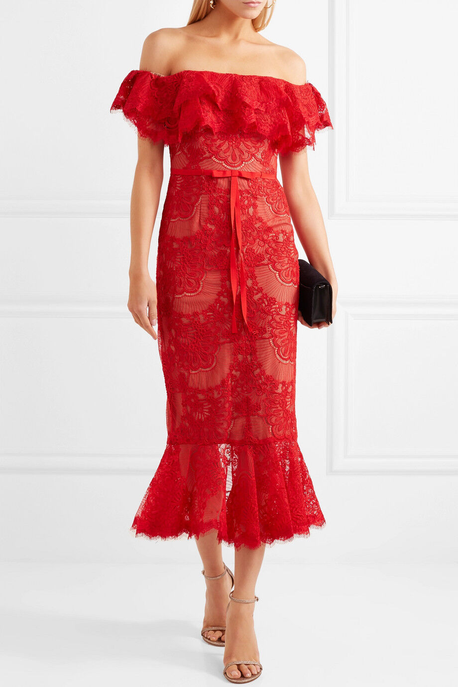 NEW Marchesa Notte Off the Shoulder Corded Lace Midi Dress Red 4 6 12