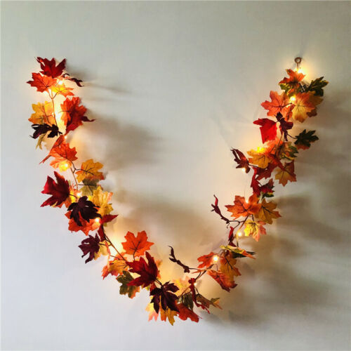 20 LED Maple Leaf Garland String Lights Thanksgiving Halloween Fall Decoration