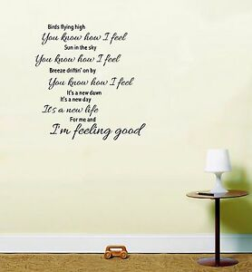 Song Lyric Wall Art michael buble feeling good song lyrics wall art sticker | ebay