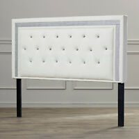 White Leather Button Tufted Rhinestone Crystal Bed Headboard Queen Full Twin