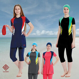 af2441c873 Image is loading AlHamra-Teenage-Girls-Modest-Burkini-Swimwear-Swimsuit -Muslim-