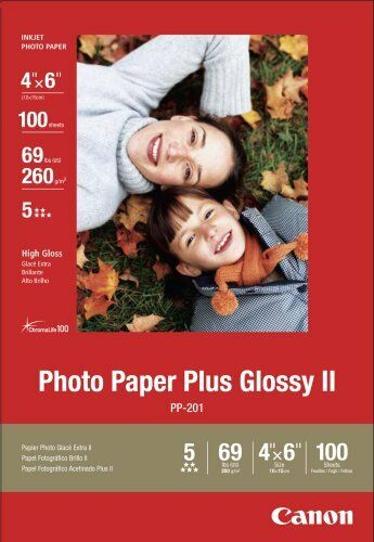Canon Photo Paper Plus Glossy II, 4 x 6 Inches, 100 Sheets (2311B023), New