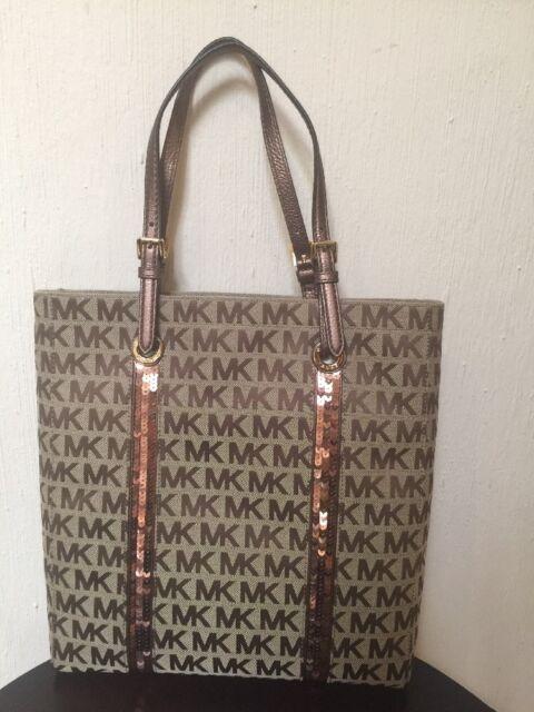 Michael Kors Handbag Purse Sequin Stripes NS Tote 38f3csst3j Suntan Bag MK ebcfaf6fb4906