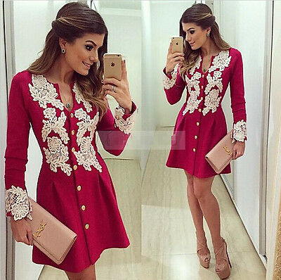 2015 Sexy Women Short Mini Casual Dress Lace Party Evening Cocktail Long Sleeve
