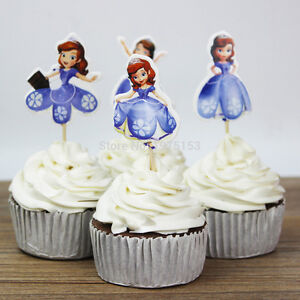 Image Is Loading 24pcs Princess Sofia Cupcake Cake Toppers Decor Girl