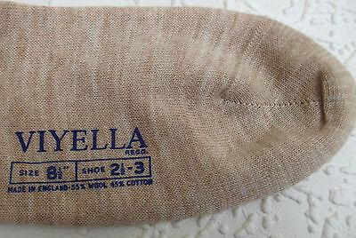 Vintage Calcetines al tobillo uniforme escolar sin usar 1960s Lana/Algodón Viyella Zapato 2 1/2-3